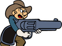 A cartoon cowboy holding a gun Royalty Free Stock Photography