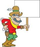 Cartoon cowboy holding a sign. Stock Image