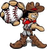 Cartoon Cowboy Kid Baseball Player Holding Ball. Baseball Cartoon Boy Cowboy Holding Bat Illustration Stock Images