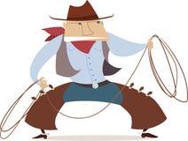 Cartoon cowboy with lasso. Stock Image