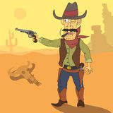 Cartoon cowboy. Mexican desert. Cowboy takes aim with a pistol Royalty Free Stock Images