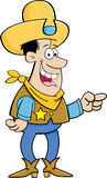 Cartoon cowboy pointing Royalty Free Stock Photography