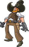 Cartoon cowboy ready to draw his gun Royalty Free Stock Photos