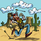 Cartoon cowboy running from indian Royalty Free Stock Photography