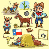 Cartoon cowboy set Royalty Free Stock Image