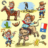 Cartoon cowboy set Stock Photos