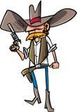 Cartoon cowboy sheriff with gun. Isolated on white Stock Image