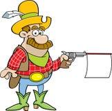Cartoon cowboy shooting a gun with a sign. Stock Images