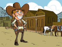 Cartoon cowboy with sixgun Royalty Free Stock Photos