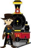 Cartoon Cowboy and Train Stock Image