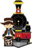 Cartoon Cowboy and Train Stock Photography