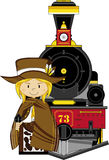 Cartoon Cowboy and Train Royalty Free Stock Image