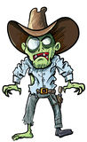 Cartoon cowboy zombie with gun belt and hat stock illustration