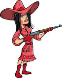 Cartoon cowgirl with a rifle Royalty Free Stock Image