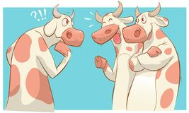 Free Cartoon Cows Talking With Different Emotions Vector Illustration Royalty Free Stock Photo - 142033525