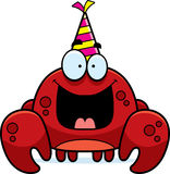 Cartoon Crab Birthday Party. A cartoon illustration of a crab with a party hat looking happy Royalty Free Stock Photo