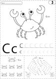 Cartoon crab and hare with carrot. Alphabet tracing worksheet: w Royalty Free Stock Image
