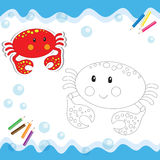 Cartoon crab. Isolated on white. Coloring book. Vector illustration Stock Photos