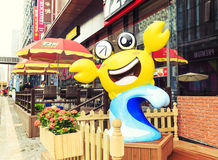 Cartoon crab statue or cartoon crab model in front of shop in shopping steet Royalty Free Stock Image