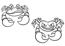 Cartoon crabs. Danger cartoon crabs with big claws for mascot design Stock Images