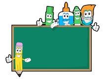 Cartoon craft supplies with blackboard Stock Photography