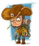 Cartoon crafty man in cowboys hat Stock Photo