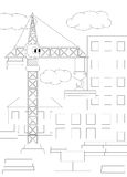 Cartoon crane. Coloring book for kids Royalty Free Stock Photo
