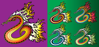 Cartoon crawling snake with fire flames background  illustration Royalty Free Stock Photo