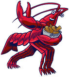 Cartoon Crayfish in Heisman Pose with Corn and Potatoes. Vector cartoon clip art illustration of a crayfish, crawfish, crawdad, or lobster in the Heisman Trophy Stock Image