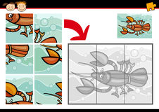 Cartoon crayfish jigsaw puzzle game Stock Photography