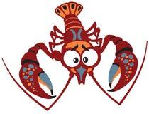 Cartoon crayfish on white Royalty Free Stock Photography