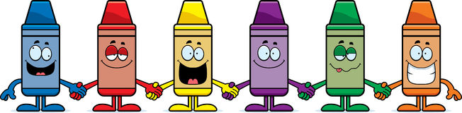 Cartoon Crayons Holding Hands Stock Images