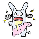 cartoon crazy bunny rabbit listening to music Stock Images