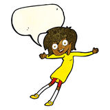 cartoon crazy excited girl with speech bubble Stock Photography