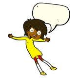 cartoon crazy excited girl with speech bubble Stock Photos