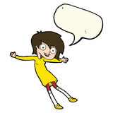 cartoon crazy excited girl with speech bubble Royalty Free Stock Photos