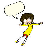 Cartoon crazy excited girl with speech bubble Royalty Free Stock Image