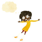 cartoon crazy excited girl with thought bubble Royalty Free Stock Photos