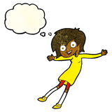 cartoon crazy excited girl with thought bubble Stock Image