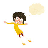 Cartoon crazy excited girl with thought bubble Royalty Free Stock Images
