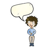 Cartoon crazy excited woman with speech bubble Stock Image
