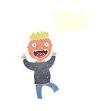 cartoon crazy happy man with speech bubble Stock Photos