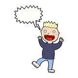 cartoon crazy happy man with speech bubble Royalty Free Stock Photos