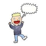 cartoon crazy happy man with speech bubble Stock Image