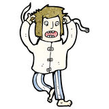 cartoon crazy man in straight jacket Royalty Free Stock Image