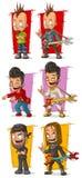 Cartoon crazy punk rock musicians with guitar character vector set. Cartoon crazy punk rock metal musicians with piercing and guitar character vector set Stock Images