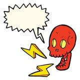 cartoon crazy skull with speech bubble Royalty Free Stock Image