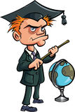 Cartoon crazy teacher with a stick and a globe. Isolated Stock Photo