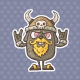 Cartoon creature with a helmet with horns royalty free illustration
