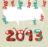 Cartoon creatures Happy New Year 2013. Cartoon 2013 snakes celebrating the beginning of the new year background. Vector illustration layered for easy Stock Image